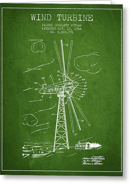 Renewable Energy Greeting Cards - Wind Turbine Patent from 1944 - Green Greeting Card by Aged Pixel