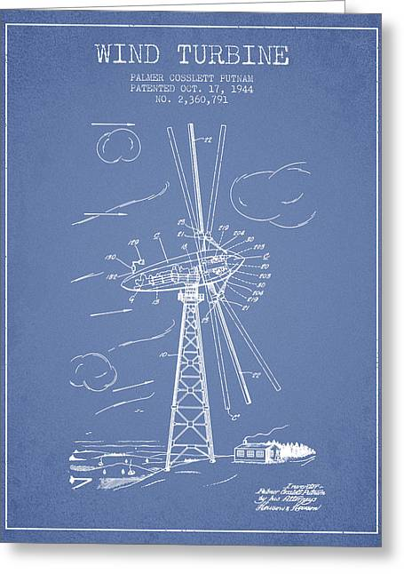 Renewable Greeting Cards - Wind Turbine Patent from 1944 - Light Blue Greeting Card by Aged Pixel
