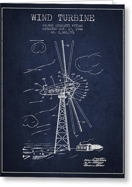 Renewable Energy Greeting Cards - Wind Turbine Patent from 1944 - Navy Blue Greeting Card by Aged Pixel