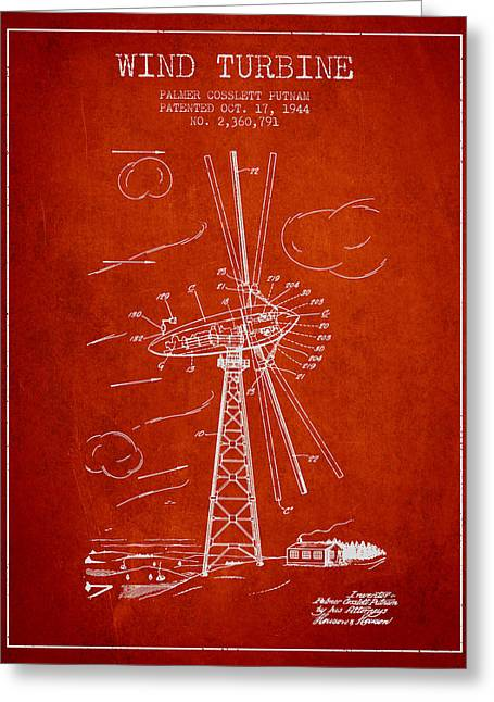 Renewable Energy Greeting Cards - Wind Turbine Patent from 1944 - Red Greeting Card by Aged Pixel