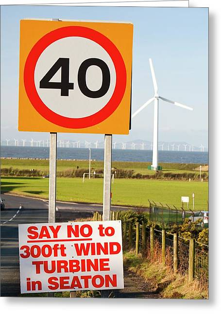 Wind Turbine Protest Sign Greeting Card by Ashley Cooper