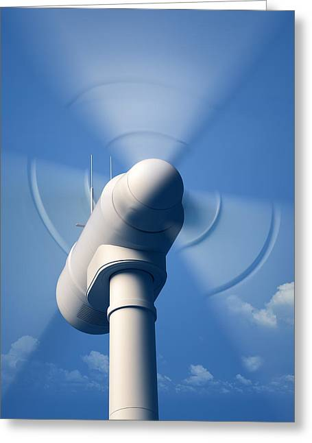 Head Digital Art Greeting Cards - Wind Turbine rotating close-up Greeting Card by Johan Swanepoel