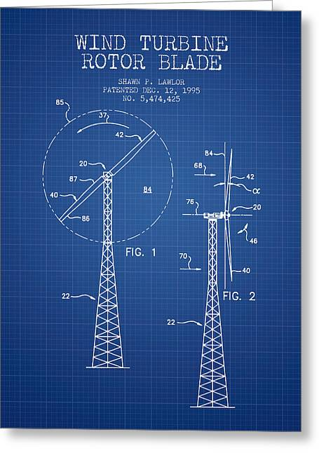 Renewable Greeting Cards - Wind Turbine Rotor Blade Patent from 1995 - Blueprint Greeting Card by Aged Pixel