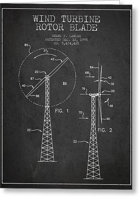 Generators Greeting Cards - Wind Turbine Rotor Blade Patent from 1995 - Dark Greeting Card by Aged Pixel