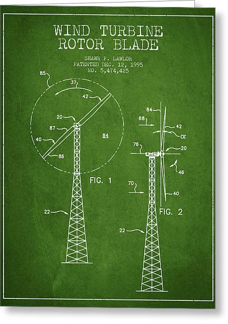 Generators Greeting Cards - Wind Turbine Rotor Blade Patent from 1995 - Green Greeting Card by Aged Pixel