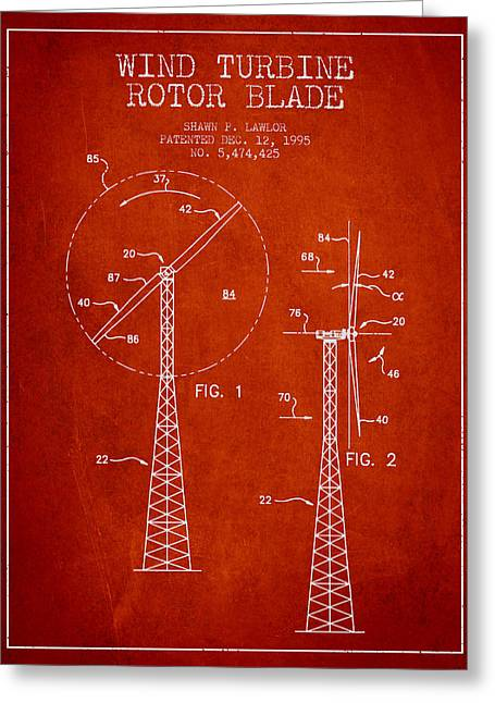 Generators Greeting Cards - Wind Turbine Rotor Blade Patent from 1995 - Red Greeting Card by Aged Pixel