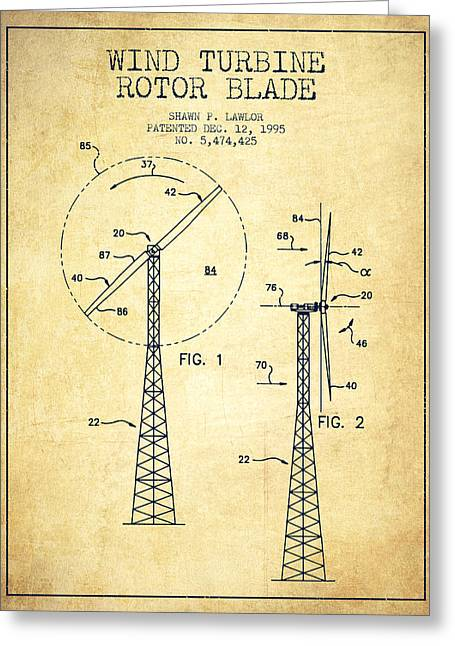 Generators Greeting Cards - Wind Turbine Rotor Blade Patent from 1995 - Vintage Greeting Card by Aged Pixel