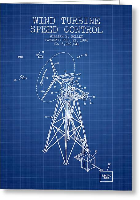 Renewable Greeting Cards - Wind Turbine Speed Control Patent from 1994 - Blueprint Greeting Card by Aged Pixel