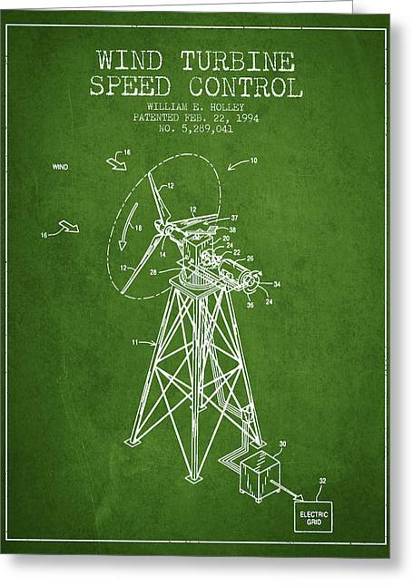 Generators Greeting Cards - Wind Turbine Speed Control Patent from 1994 - Green Greeting Card by Aged Pixel