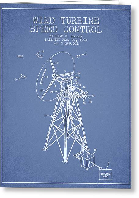 Renewable Greeting Cards - Wind Turbine Speed Control Patent from 1994 - Light Blue Greeting Card by Aged Pixel