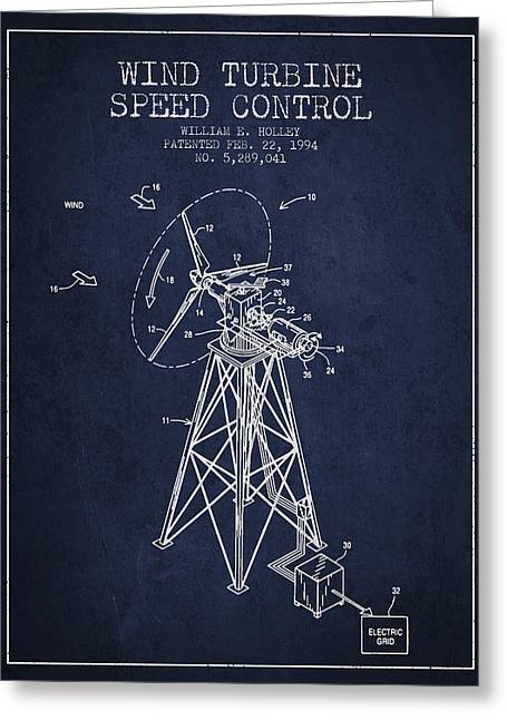 Generators Greeting Cards - Wind Turbine Speed Control Patent from 1994 - Navy Blue Greeting Card by Aged Pixel