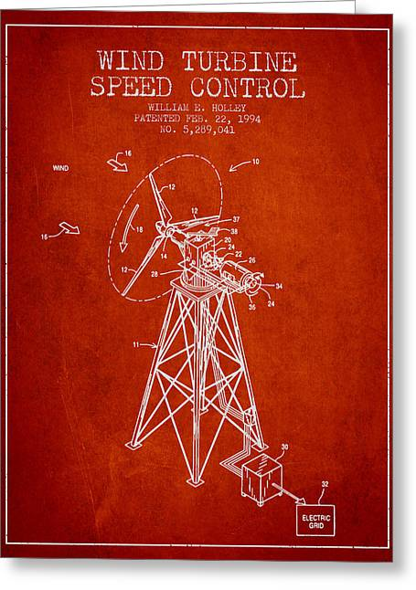 Generators Greeting Cards - Wind Turbine Speed Control Patent from 1994 - Red Greeting Card by Aged Pixel