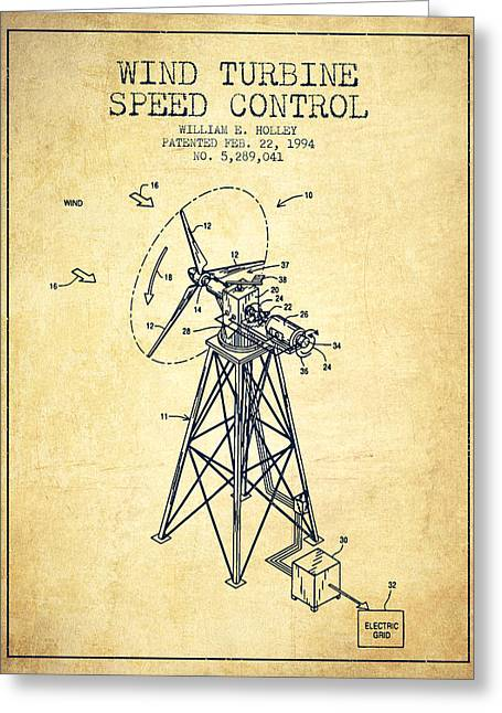 Renewable Greeting Cards - Wind Turbine Speed Control Patent from 1994 - Vintage Greeting Card by Aged Pixel
