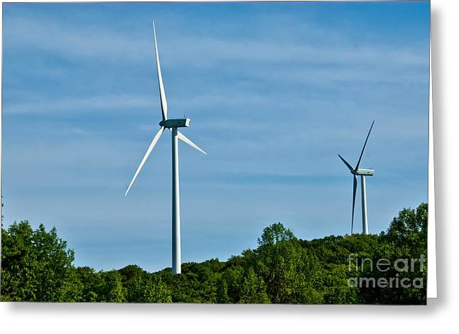 Environmental Conservation Greeting Cards - Wind Turbines Greeting Card by Amy Cicconi