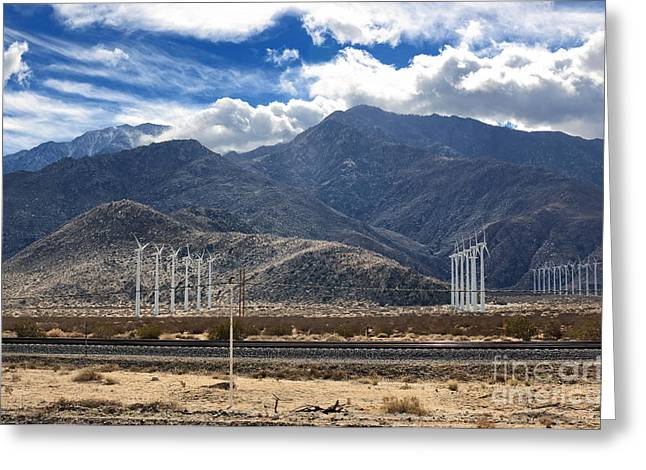 Transporation Greeting Cards - Wind Turbines and Railway in Southern California Greeting Card by Charline Xia
