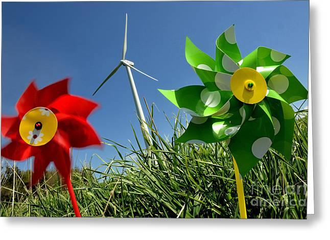 Alternative Energy Greeting Cards - Wind turbines and toys Greeting Card by Bernard Jaubert