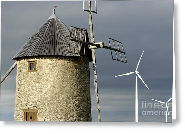 Eco-village Greeting Cards - Wind turbines and windfarm Greeting Card by Bernard Jaubert