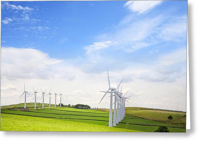 England Landscape Greeting Cards - Wind Turbines at Royd Moor Penistone Yorkshire England Greeting Card by Colin and Linda McKie
