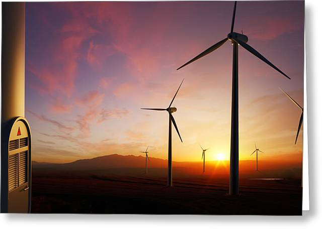 Electricity Greeting Card featuring the photograph Wind Turbines At Sunset by Johan Swanepoel