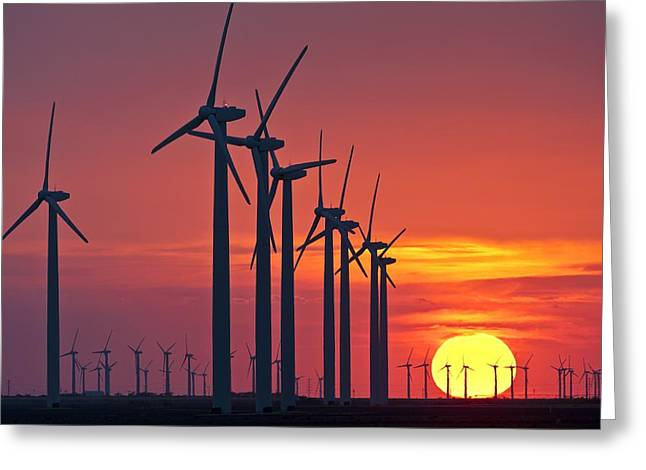 Environmental Science Greeting Cards - Wind turbines at sunset Greeting Card by Science Photo Library