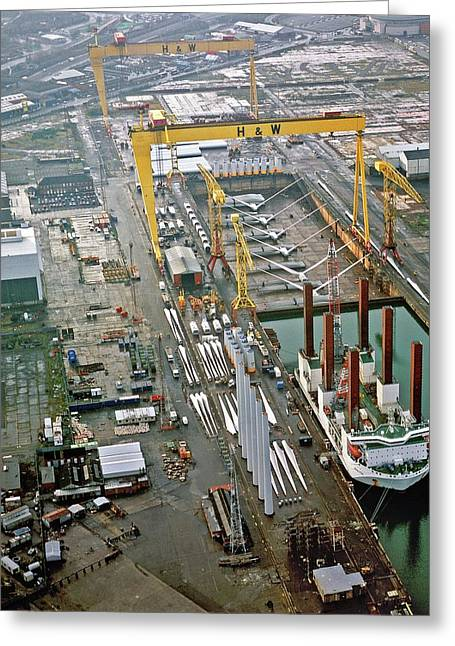 Wind Turbines Being Offloaded Greeting Card by Harland & Wolff Heavy Indust./us Department Of Energy