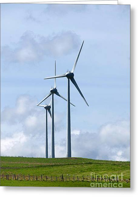 Power Plants Greeting Cards - Wind turbines Greeting Card by Bernard Jaubert