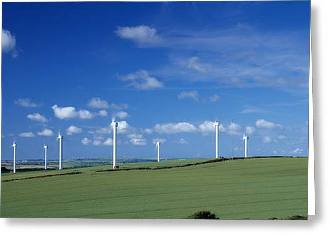 Environmental Conservation Greeting Cards - Wind Turbines In A Farm, Newlyn Downs Greeting Card by Panoramic Images