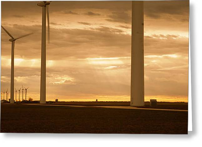 Natural Resources Greeting Cards - Wind Turbines In A Field, Amarillo Greeting Card by Panoramic Images