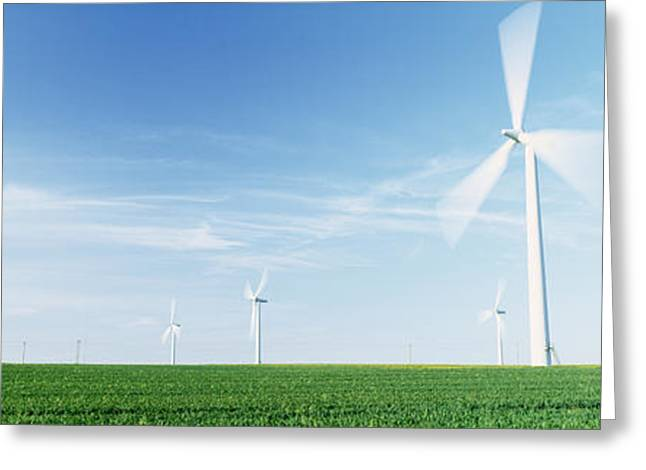Repetition Greeting Cards - Wind Turbines In A Field, Easington Greeting Card by Panoramic Images