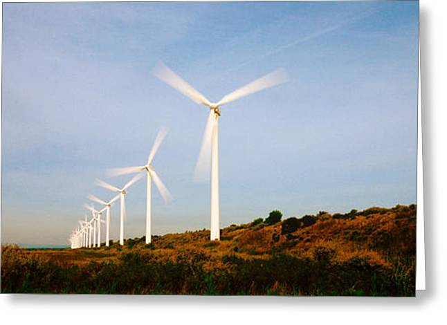 Environmental Conservation Greeting Cards - Wind Turbines In Motion Greeting Card by Panoramic Images