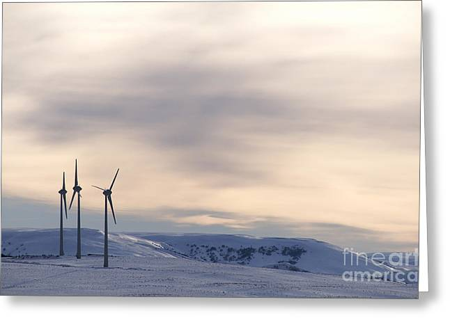 Propeller Photographs Greeting Cards - Wind turbines in winter Greeting Card by Bernard Jaubert