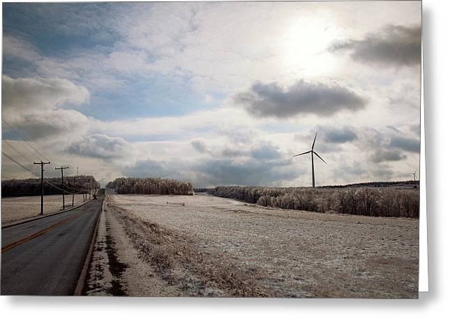 Wind Turbines In Winter Greeting Card by Jim West
