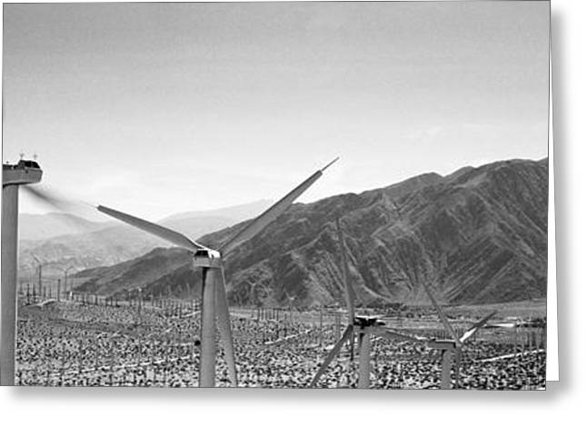 Environmental Conservation Greeting Cards - Wind Turbines On A Landscape Greeting Card by Panoramic Images