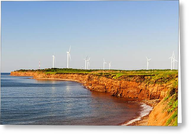 Windmills Greeting Cards - Wind turbines on atlantic coast Greeting Card by Elena Elisseeva