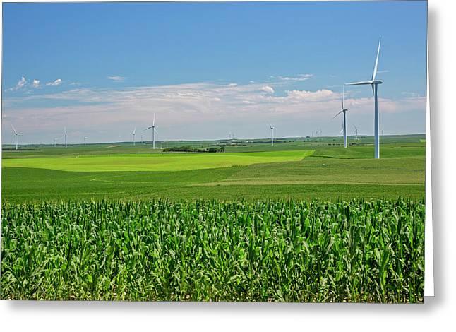 Wind Turbines On Nebraska Farm Greeting Card by Jim West