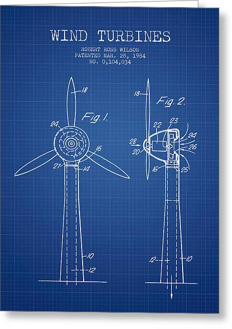 Renewable Greeting Cards - Wind Turbines Patent from 1984 - Blueprint Greeting Card by Aged Pixel