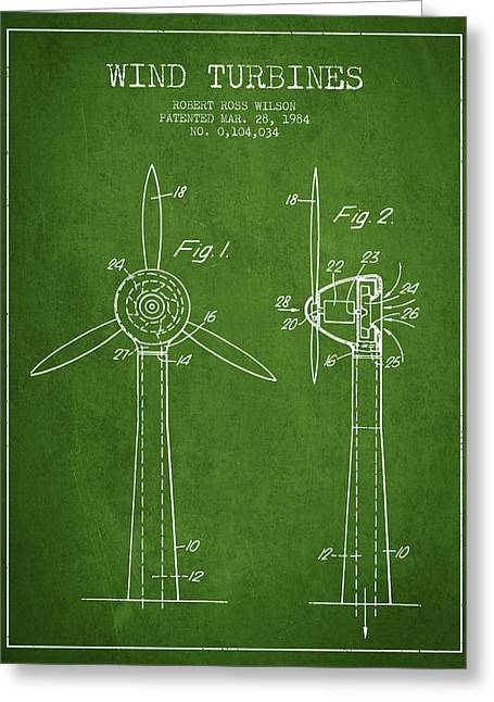 Renewable Energy Greeting Cards - Wind Turbines Patent from 1984 - Green Greeting Card by Aged Pixel
