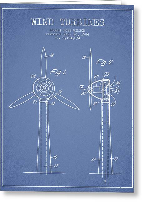 Wind Turbines Patent From 1984 - Light Blue Greeting Card by Aged Pixel