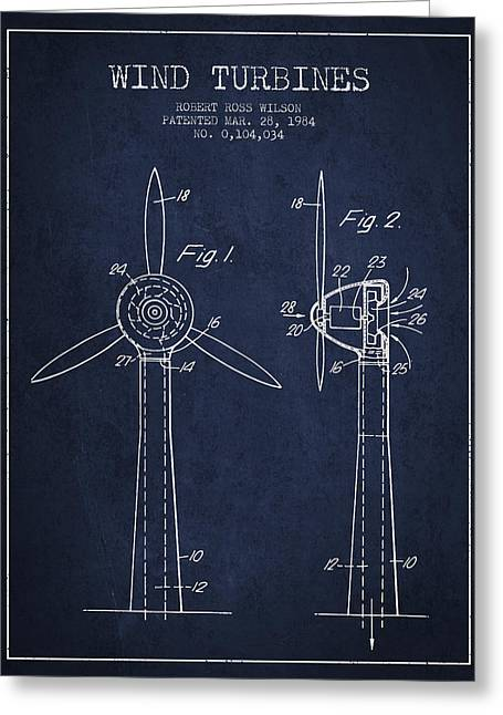 Renewable Energy Greeting Cards - Wind Turbines Patent from 1984 - Navy Blue Greeting Card by Aged Pixel