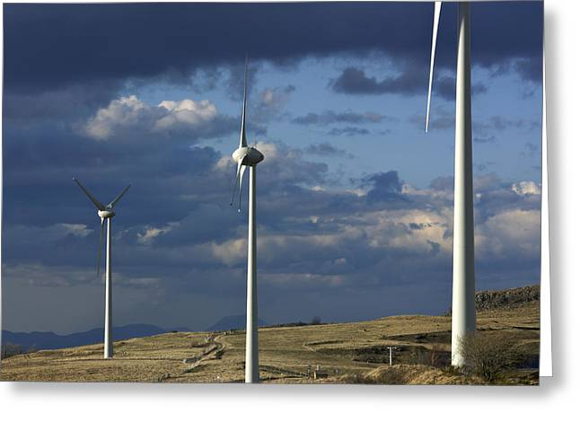 Overcast Day Greeting Cards - Wind turbines. Region Auvergne. France Greeting Card by Bernard Jaubert