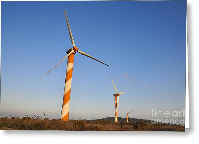 Generators Greeting Cards - Wind turbines  Greeting Card by Shay Levy