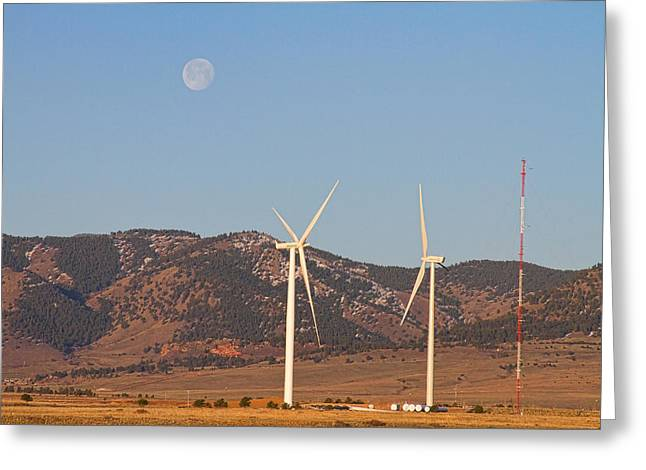Rocky Mountain Foothills Greeting Cards - Wind Turbines with a Full Moon and Blue Skies Greeting Card by James BO  Insogna