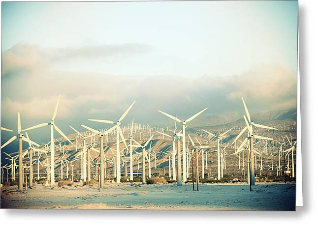 Environmental Conservation Greeting Cards - Wind Turbines With Mountains Greeting Card by Panoramic Images
