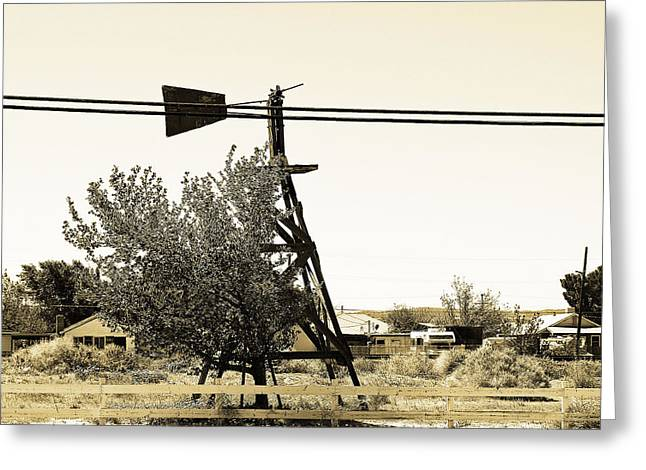 Wind Vane Greeting Cards - Wind Vane in Boron California Greeting Card by Charlette Miller