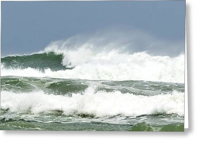 Ocean Art Photography Greeting Cards - Wind Whipped Waves Greeting Card by Michelle Wiarda