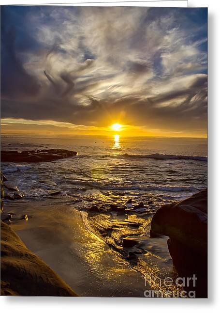 California Ocean Photography Greeting Cards - Windansea Gold Greeting Card by Baywest Imaging