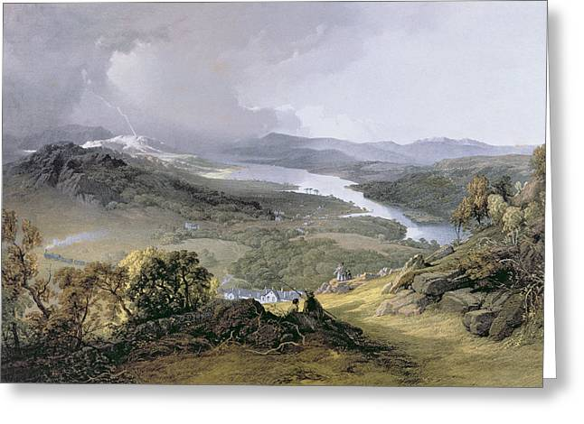 The Hills Greeting Cards - Windermere From Orrest Head Engraving Greeting Card by James Baker Pyne