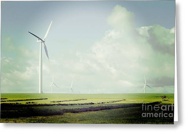 Climate Change Greeting Cards - Windfarm with Instagram Effect Greeting Card by Colin and Linda McKie