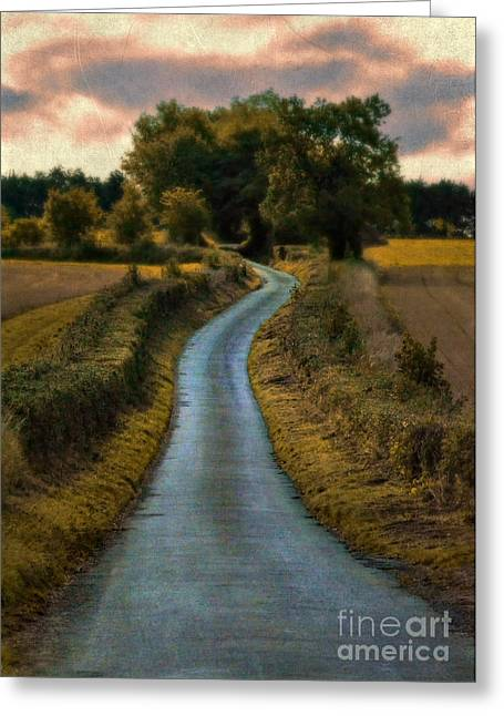 Country Dirt Roads Greeting Cards - Winding Country Road Greeting Card by Jill Battaglia