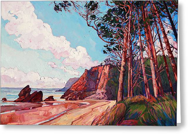 Loose Style Paintings Greeting Cards - Winding Pines Greeting Card by Erin Hanson